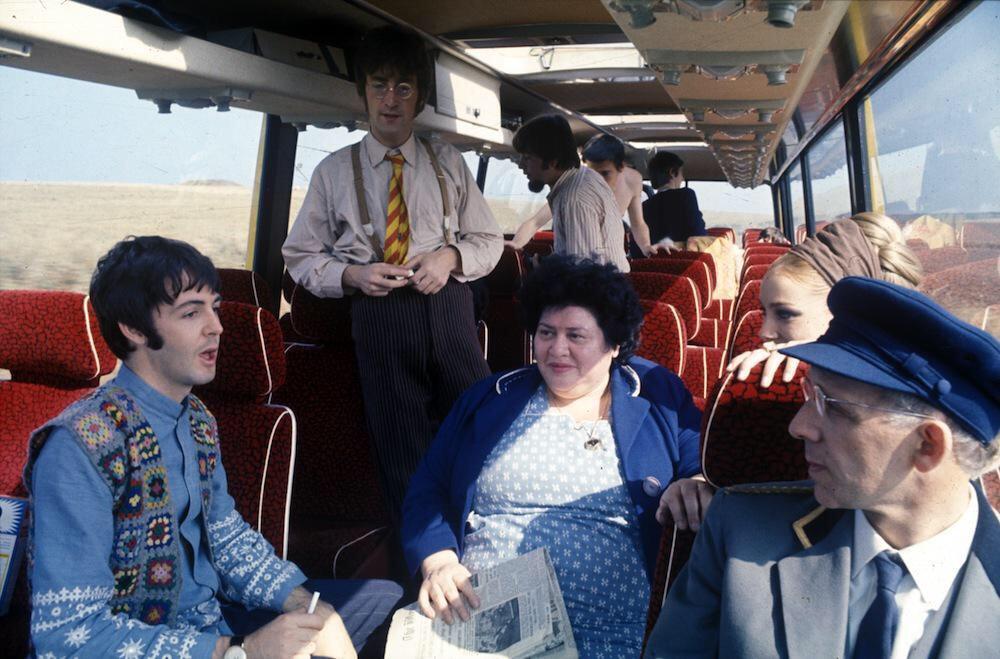 Paul McCartney and John Lennon aboard the Magical Mystery Tour bus, 1967.