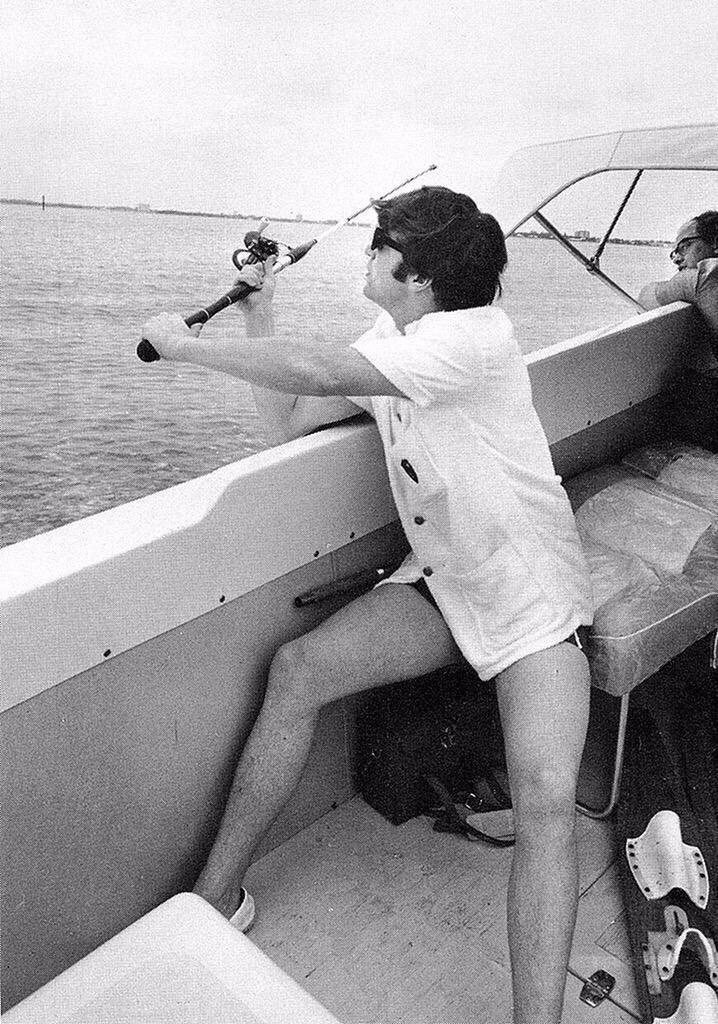 John Lennon fishing in Miami, Florida, 1964.