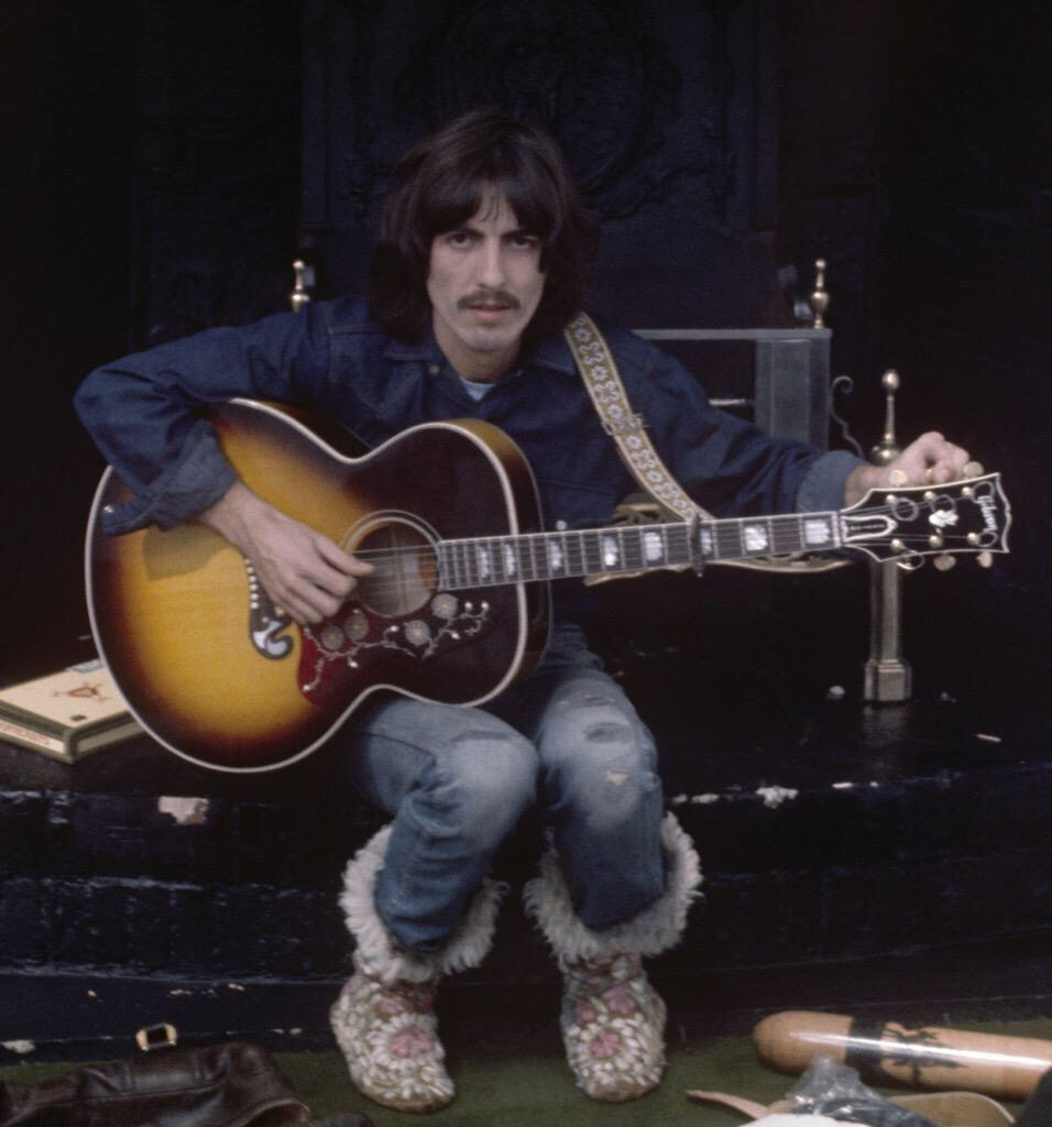 George Harrison at a Let It Be session, 1969.