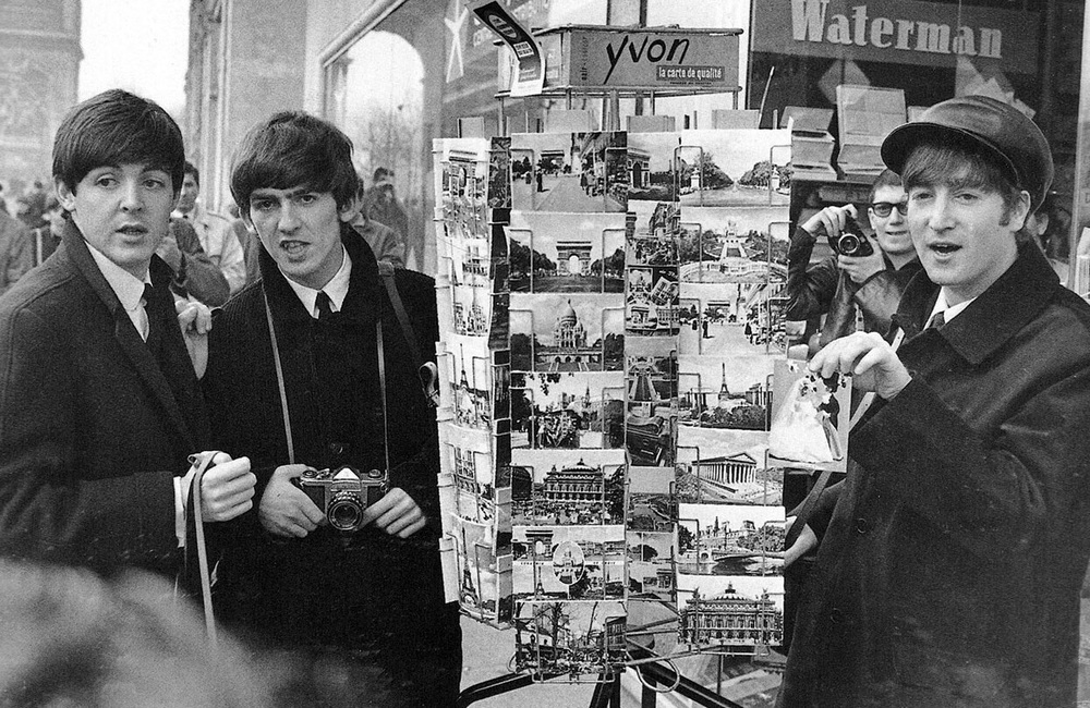 The Beatles postcard shopping in Paris, January, 1964.