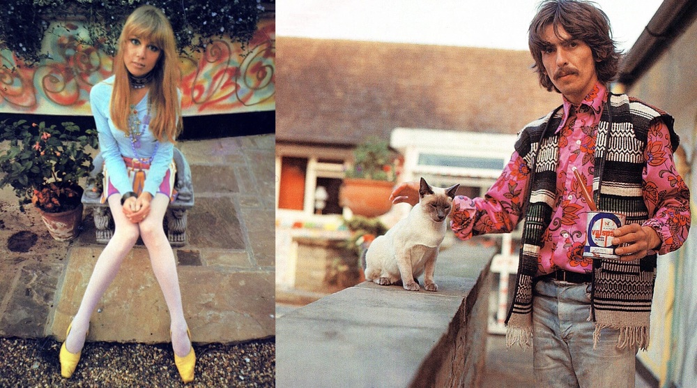 George Harrison and Pattie Boyd at their bungalow in Surrey, 1967.