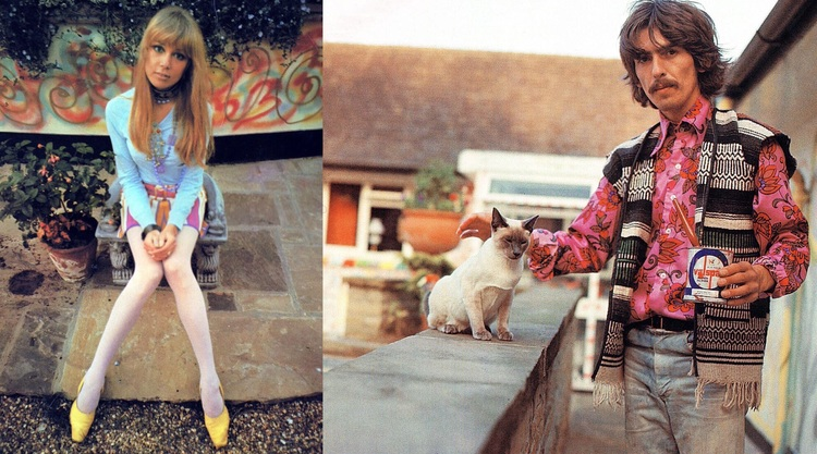 George Harrison And Pattie Boyd At Their Bungalow In Surrey 1967