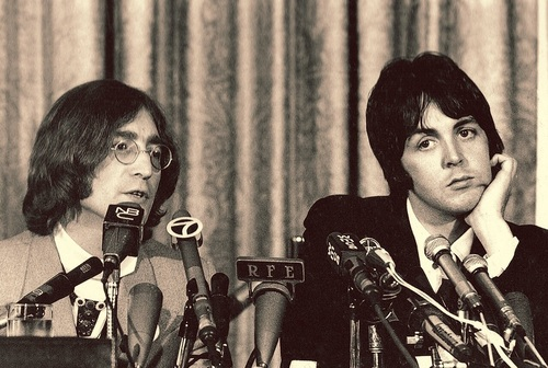 John Lennon And Paul McCartney At An Apple Press Conference May 1968