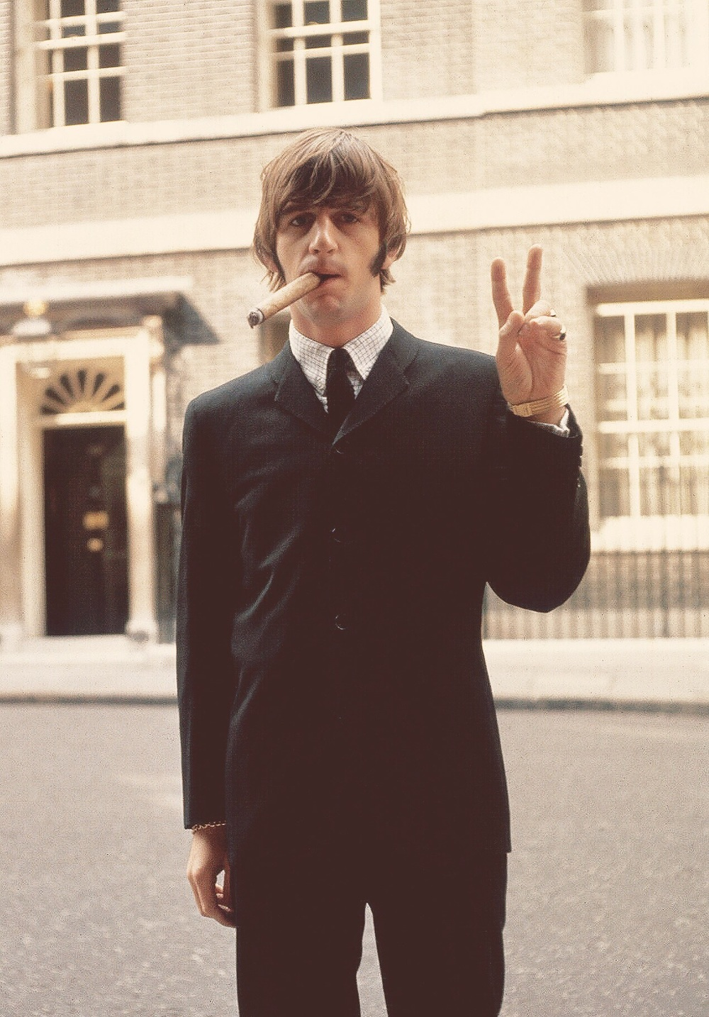 Ringo Starr outside 10 Downing Street, London, 1965.