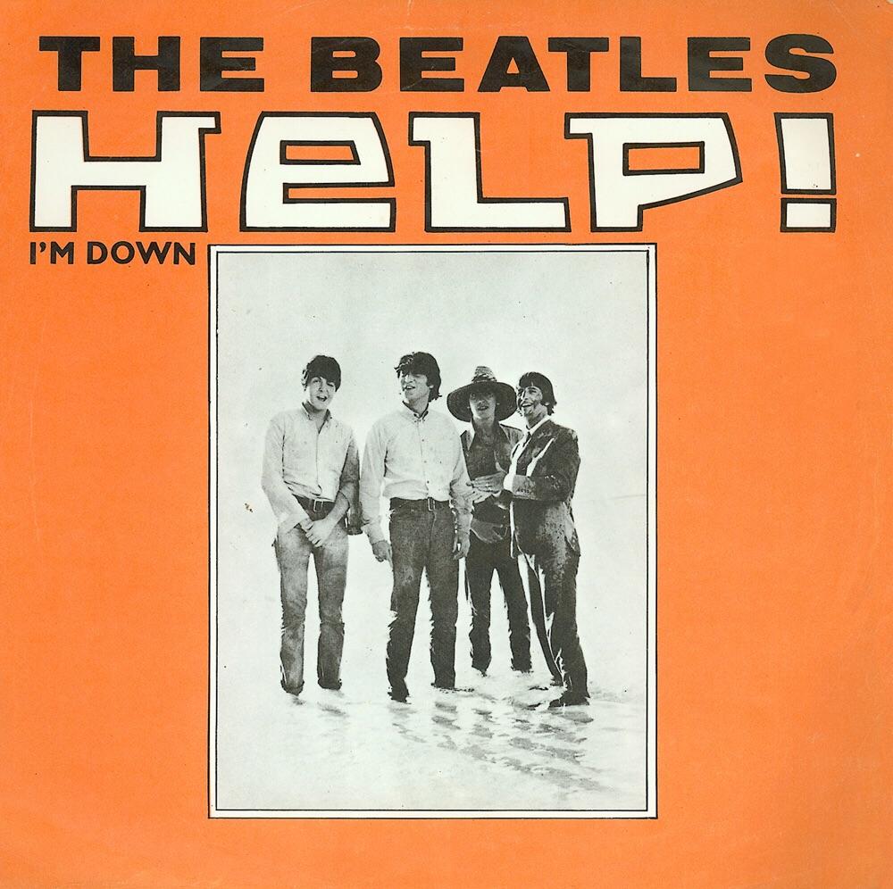 Dutch single sleeve for Help!/I'm Down, 1965.