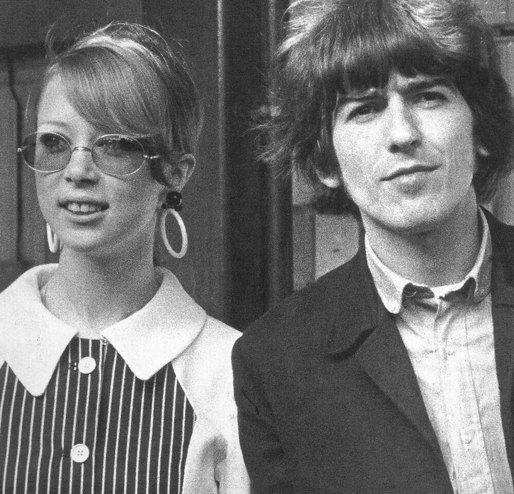 Pattie Boyd with George Harrison flying to Barbados, February 8th 1966.