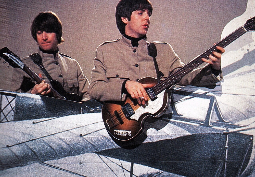 John Lennon and Paul McCartney filming a promo video for Day Tripper, 1965.