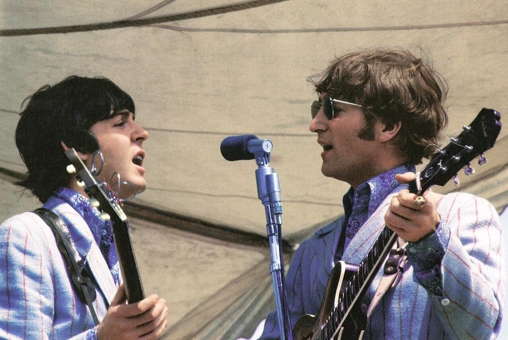 John Lennon and Paul McCartney playing Crosley Field, Cincinnati, August 21st 1966.