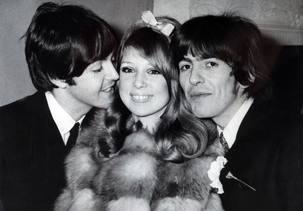 Paul McCartney, Pattie Boyd and George Harrison, January 21st 1966.