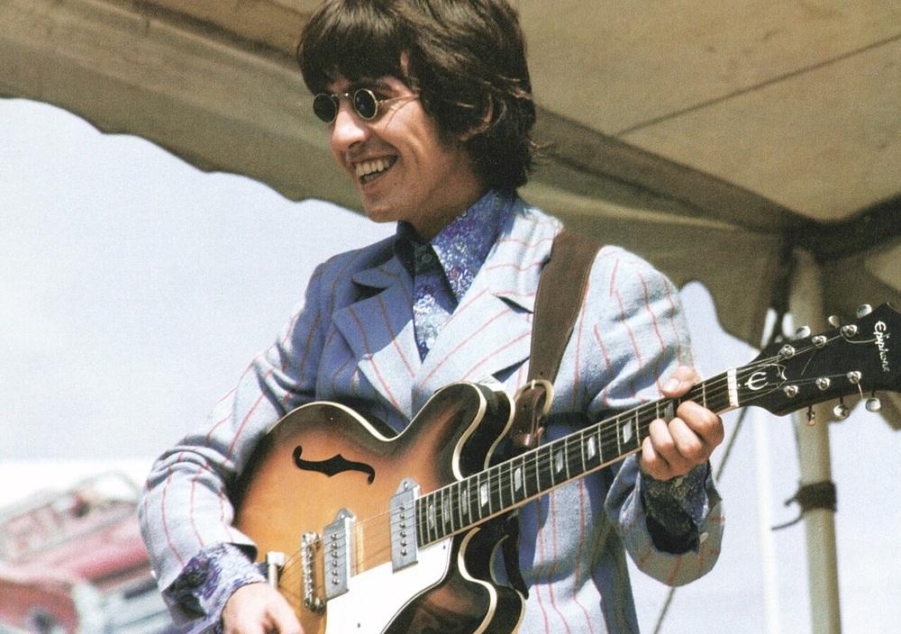 George Harrison playing Crosley Field, Cincinnati, August 21st 1966.