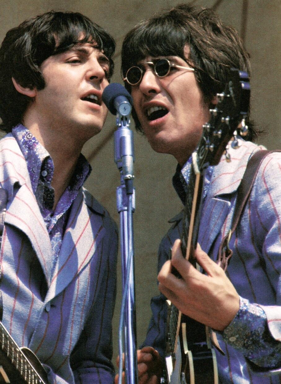 Paul McCartney and George Harrison playing Crosley Field, Cincinnati, August 21st 1966.