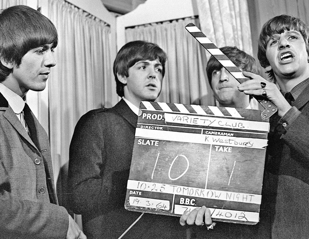 The Beatles on the set of Variety Club, March 1964.