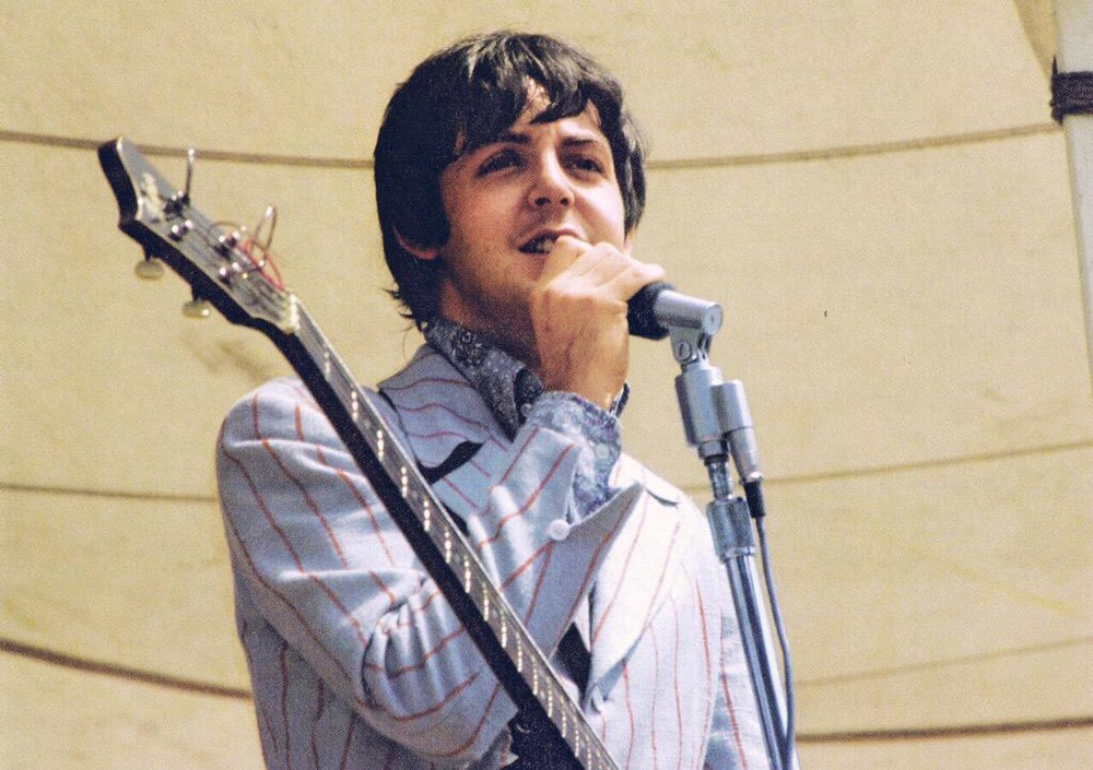 Paul McCartney playing Crosley Field, Cincinnati, August 21st 1966.