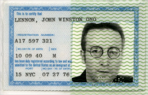 John Lennon's Green Card dated July 27th, 1976.
