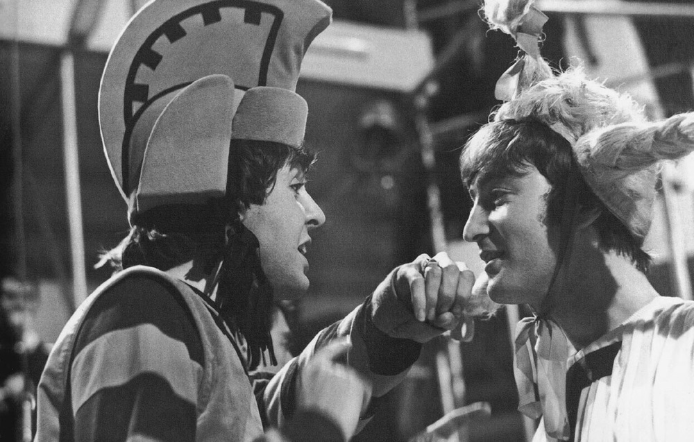 Paul McCartney and John Lennon celebrating Shakespeare's 400th birthday at Rediffusion's Wembley Studios, London, April 28th, 1964.