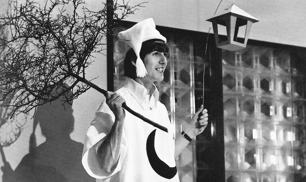 George Harrison celebrating Shakespeare's 400th birthday at Rediffusion's Wembley Studios, London, April 28th, 1964.