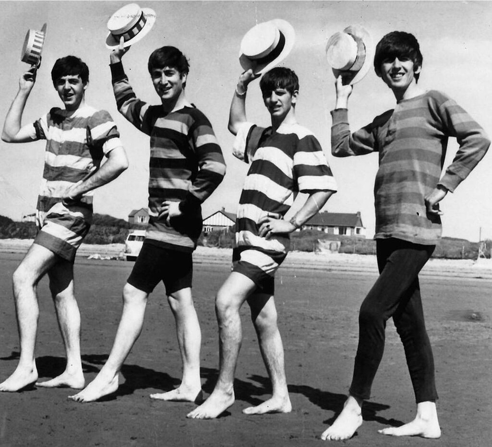 The Beatles on Brean Down Beach, Somerset, July 22nd, 1963.