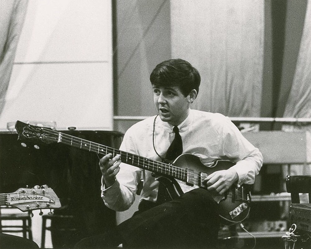 Paul McCartney at an early Abbey Road recording session, September 1962.
