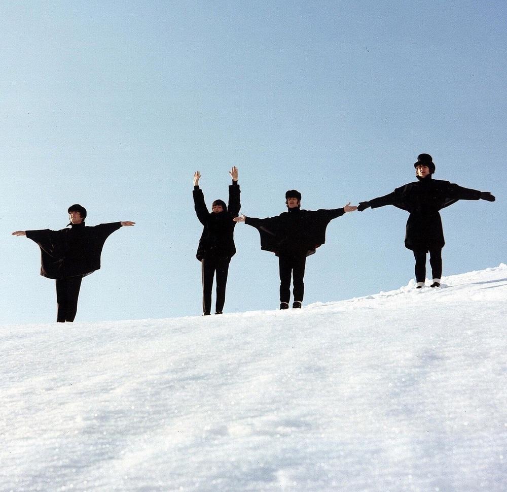 The Beatles filming Help! in Austria, 1965.