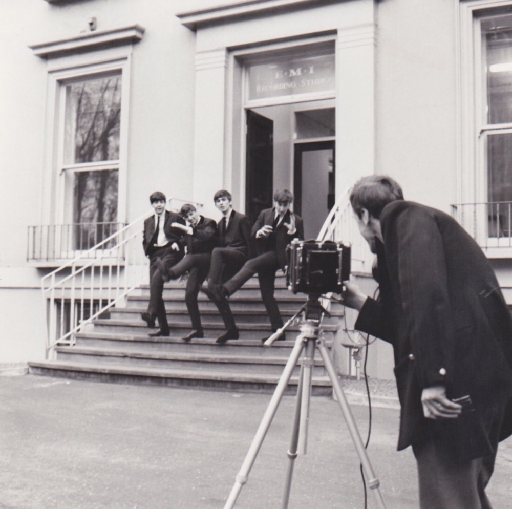 Dezo Hoffman and the Beatles outside Abbey Road, 1962.