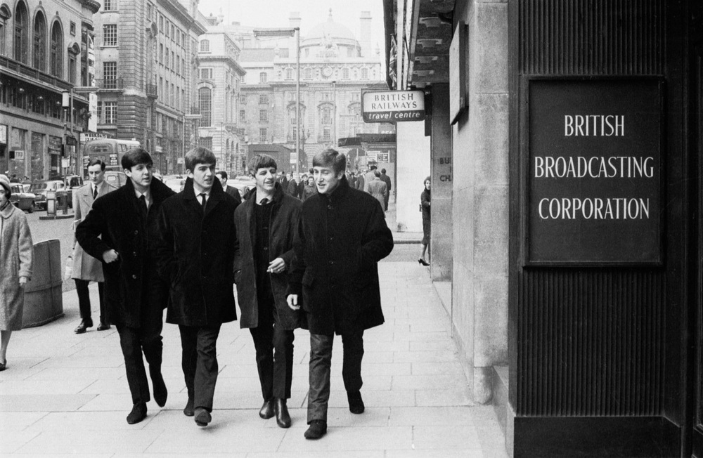 The Beatles outside the BBC, London, circa 1963.
