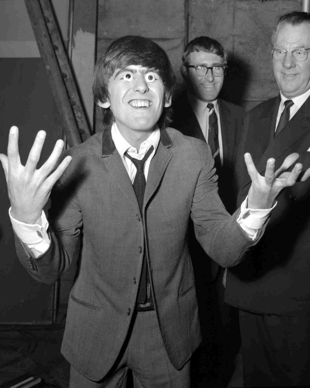 George Harrison  at Madame Tussauds, London, April 1964.