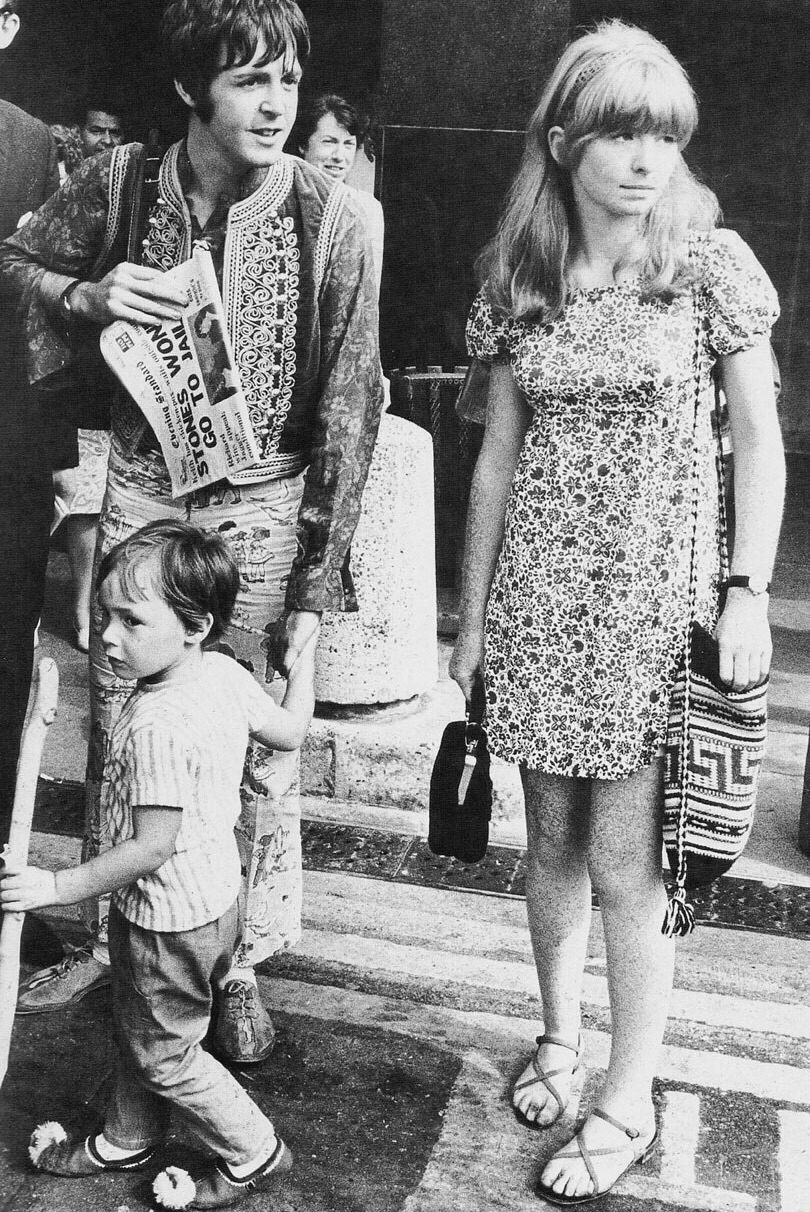 Paul McCartney and Jane Asher with Julian Lennon on their way to Greece, 1967.