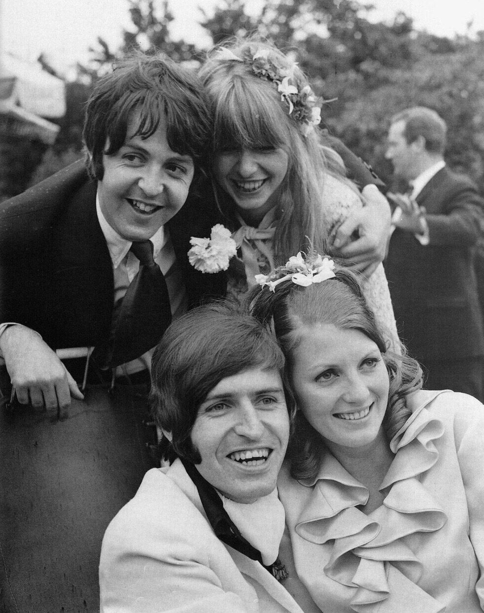 Paul McCartney and Jane Asher at Paul's brother Mike's wedding, 1968.