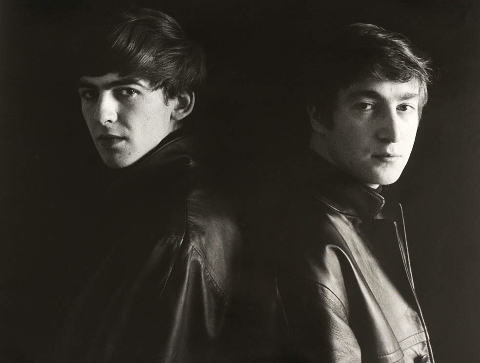 George Harrison and John Lennon in Hamburg, 1962. Photo by Astrid Kirchherr.