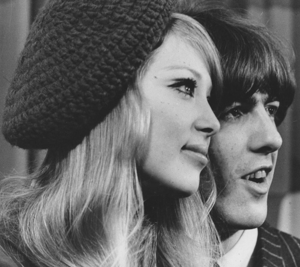 Pattie Boyd and George Harrison circa 1966.