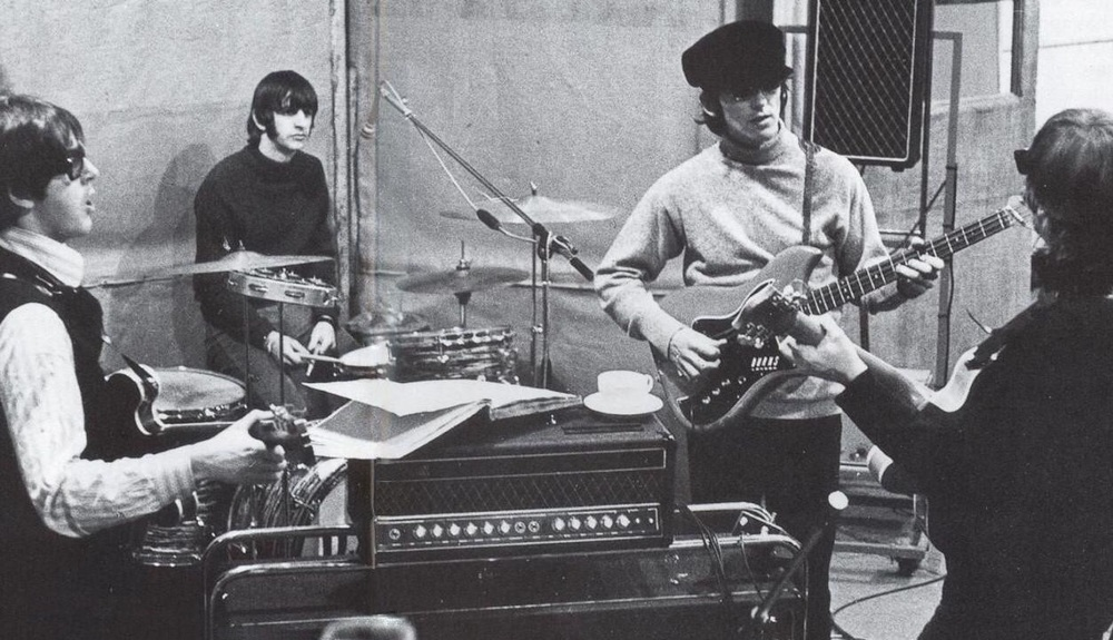 The Beatles rehearsing Rain, April 14th, 1966.