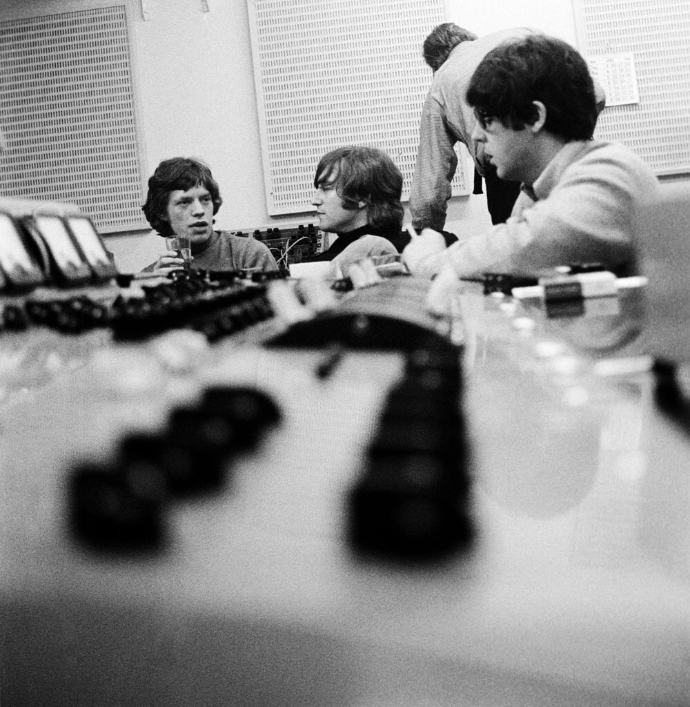 Mick Jagger, John Lennon and Paul McCartney at a Revolver recording session, 1966.