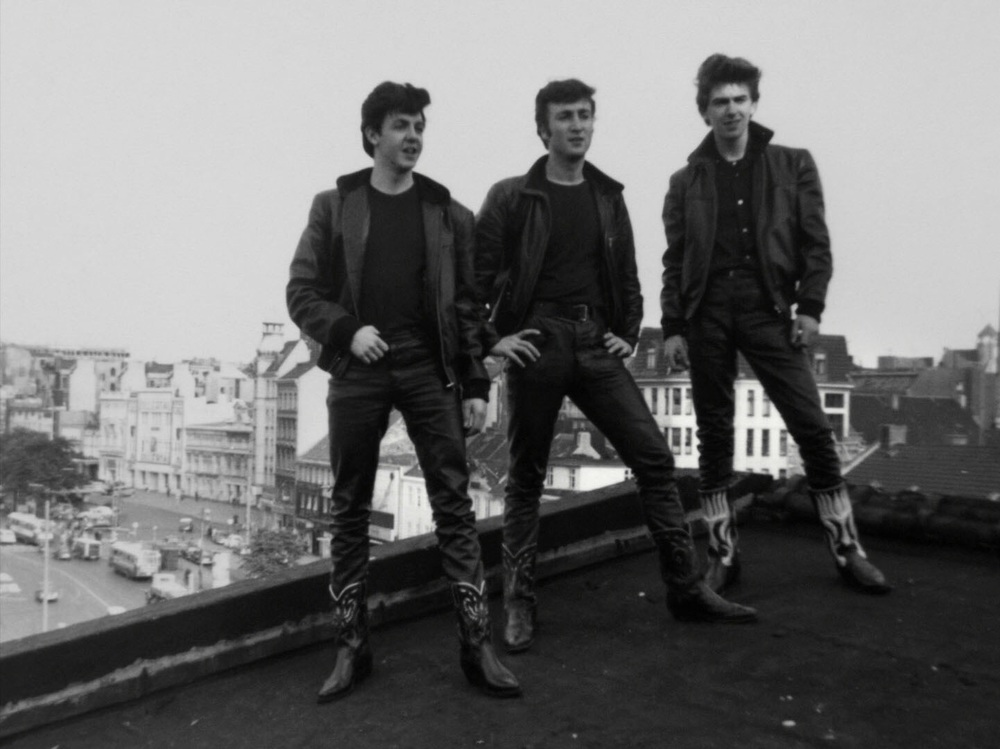 The Beatles on a rooftop in Hamburg, circa 1960.