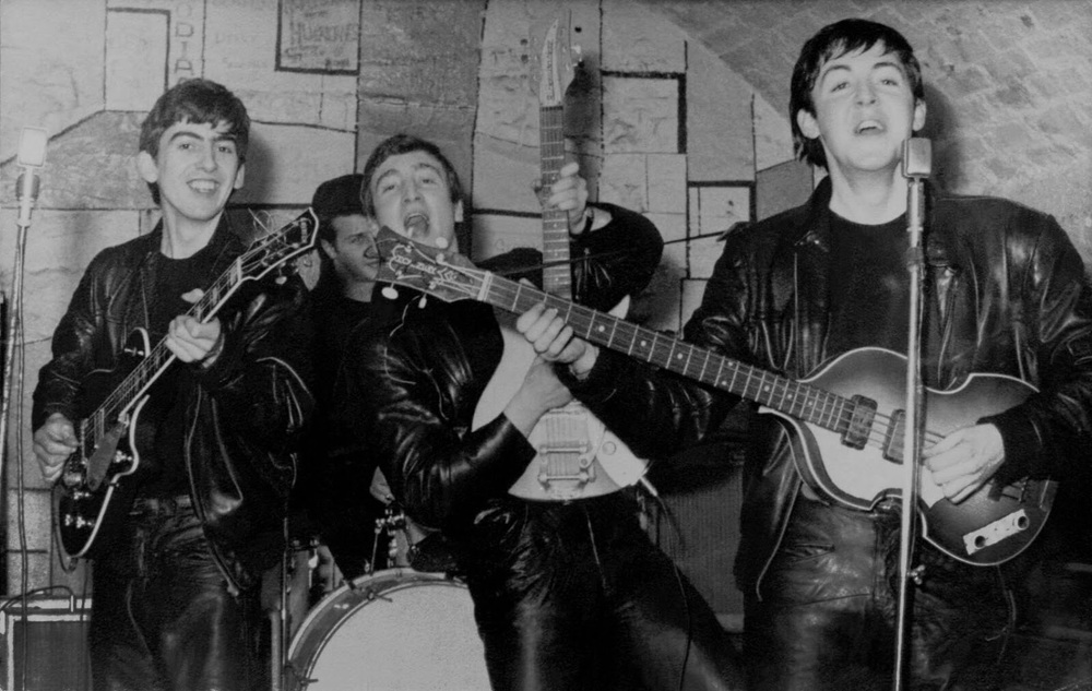 The Beatles donned in leather at the Cavern, circa 1961.