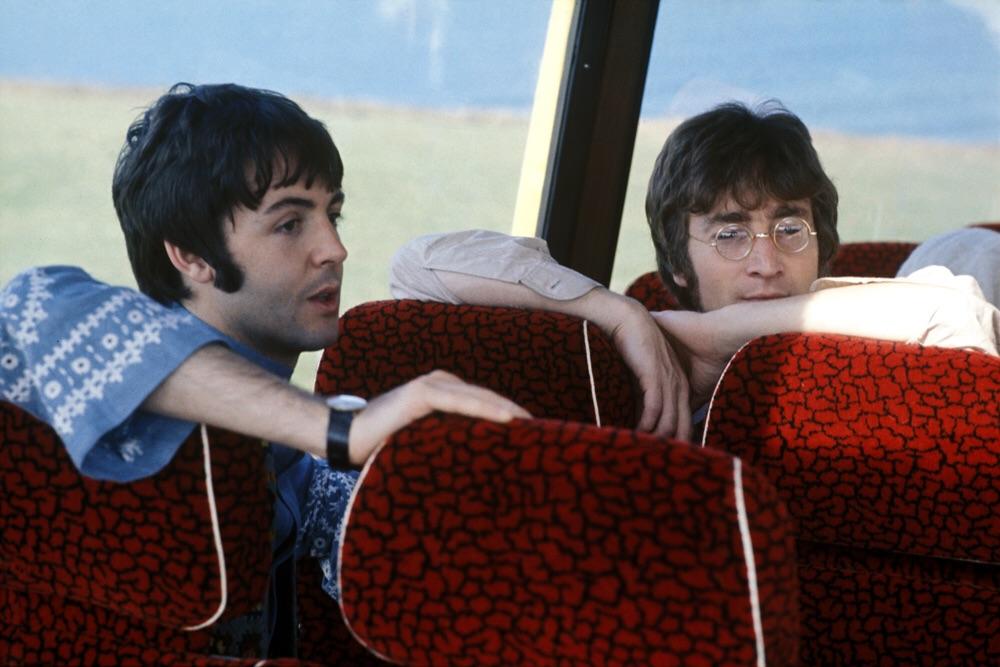 John Lennon and Paul McCartney aboard the Magical Mystery Tour bus, 1967.
