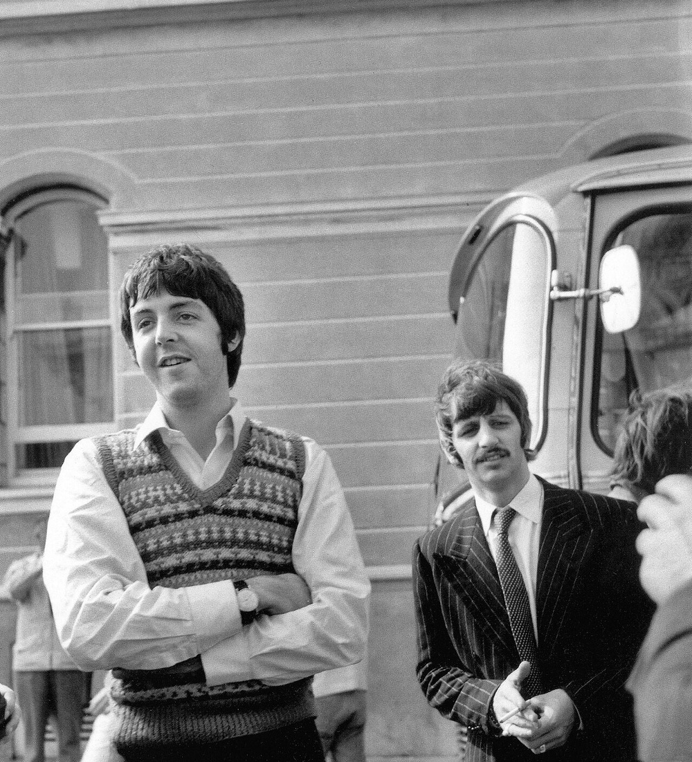 Paul McCartney and Ringo Starr on the set of Magical Mystery Tour, 1967.
