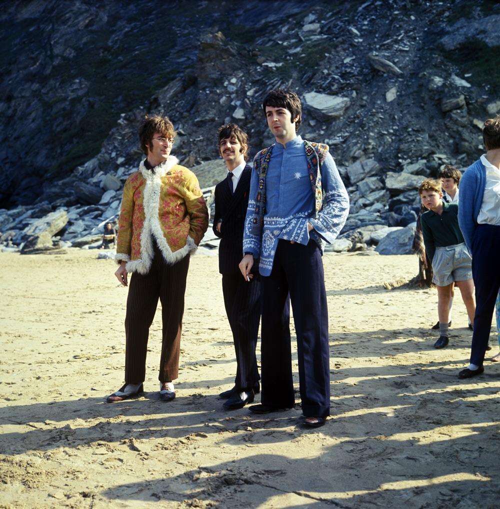 John Lennon, Ringo Starr and Paul McCartney on the set of Magical Mysery Tour, 1967.