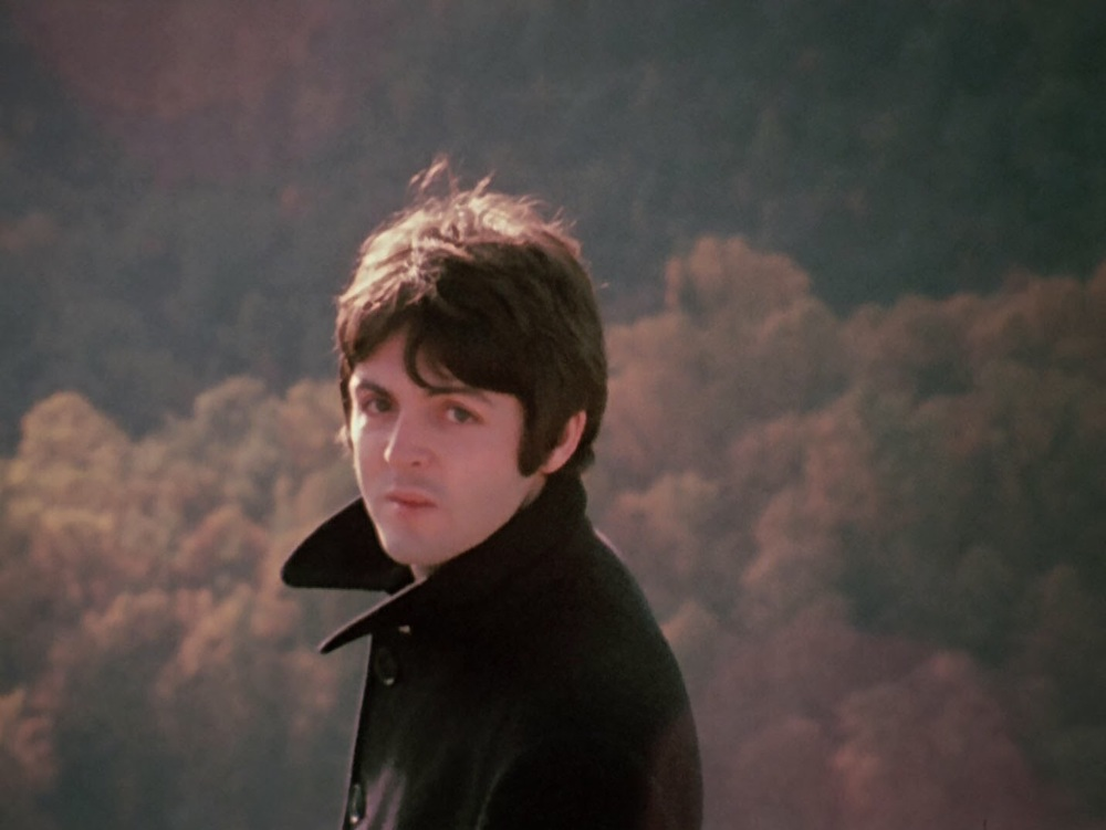 Paul McCartney filming a promotional video for The Fool on the Hill in Nice, France, October 1967.