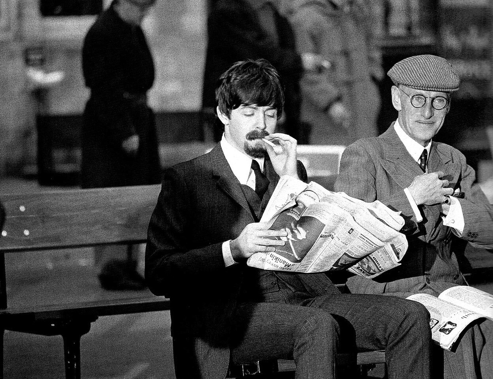 Paul McCartney and Wilfred Brambell  on the set of A Hard Day's Night, 1964.