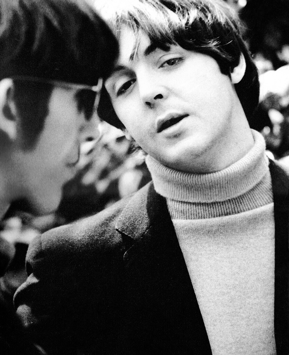 George Harrison and Paul McCartney at Chiswick House, May 20th, 1966.