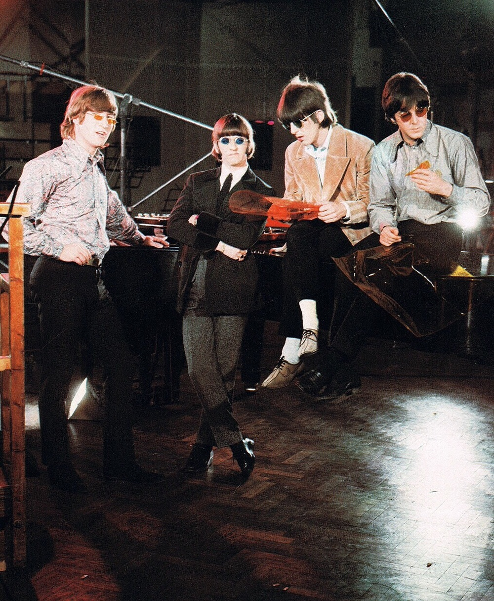 The Beatles filming a promo video for Paperback Writer, 1966.