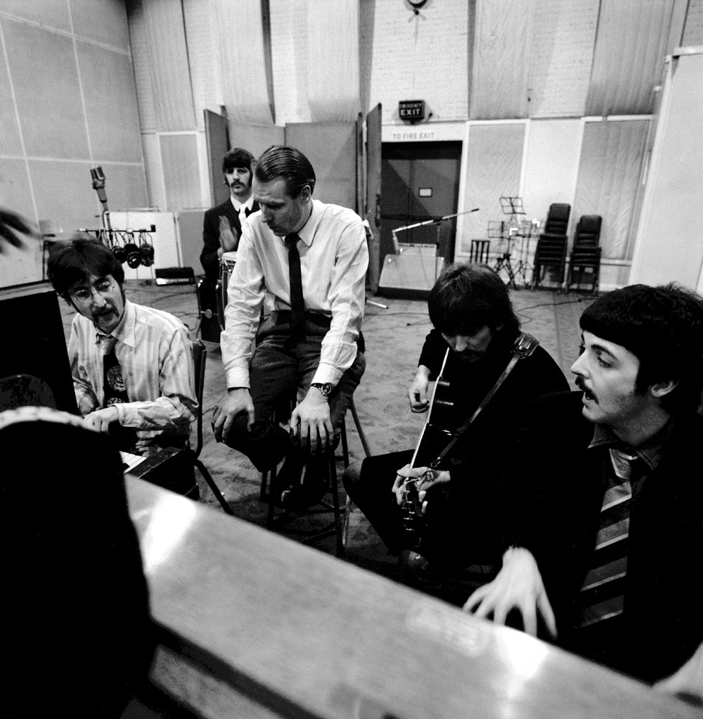George Martin working with the Beatles on A Day in the Life, 1967.