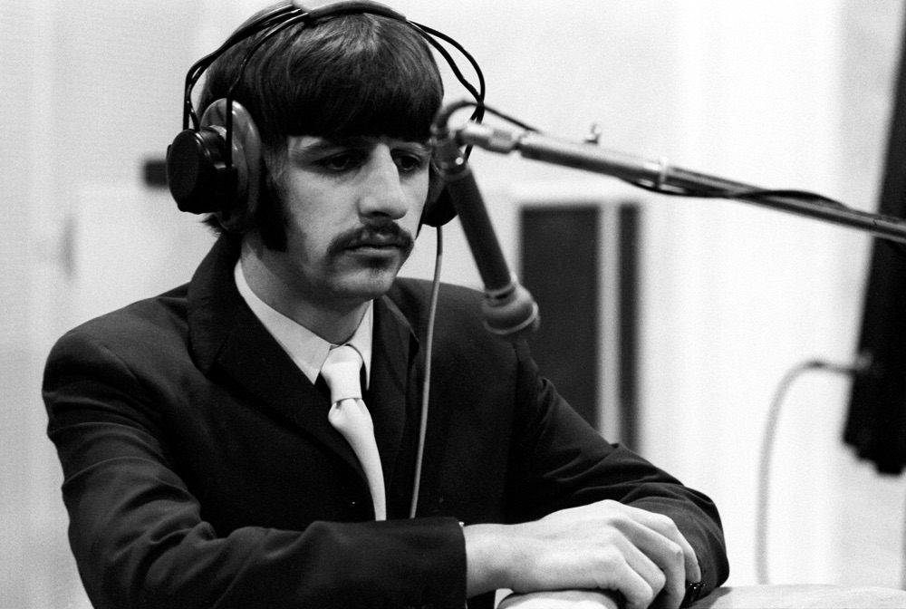 With a little help from his friends. Ringo star recording vocals for Sgt. Pepper, 1967.