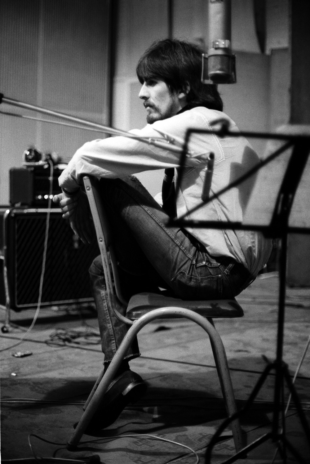 George Harrison at a Sgt. Pepper recording session, 1967.