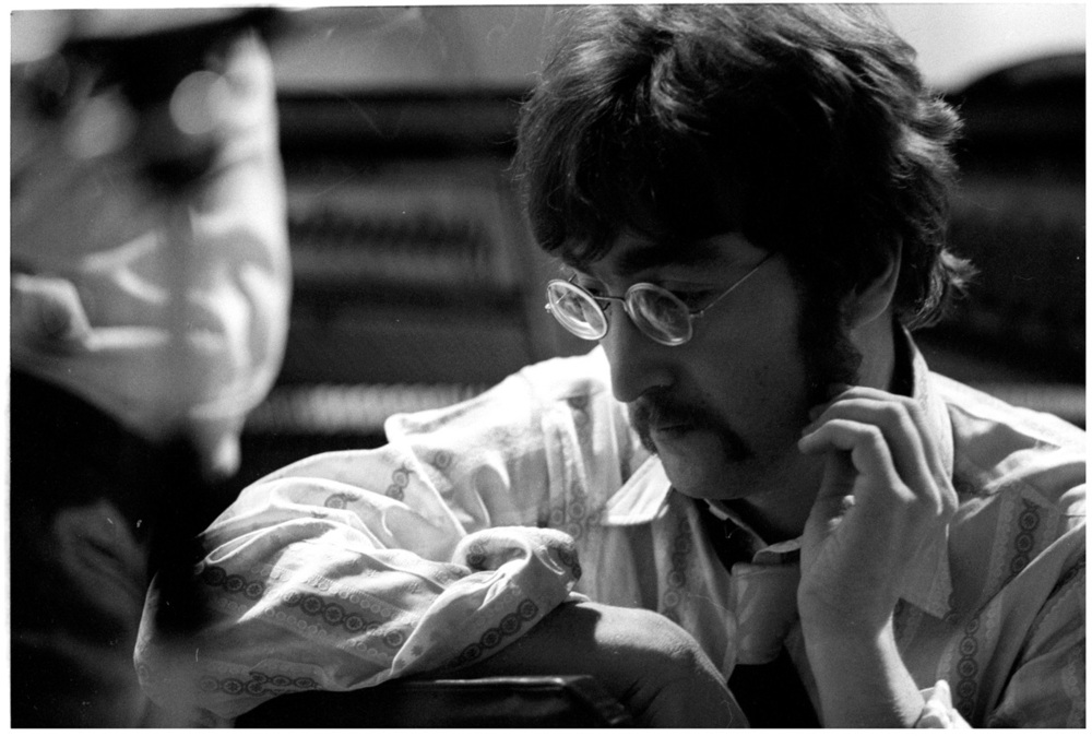 John Lennon at a Sgt. Pepper recording session, 1967.