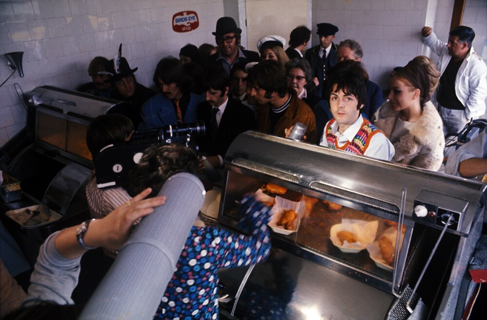 The Beatles at Smedleys fish and chip shop in Newquay, September 15th, 1967.