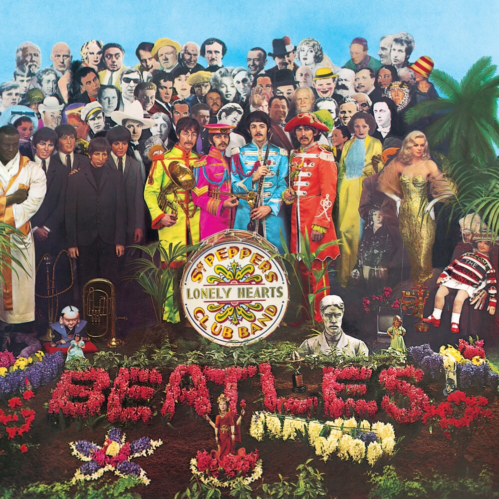 The complete Sgt. Pepper's Lonely Hearts Club Band cover in all its glory, 1967.