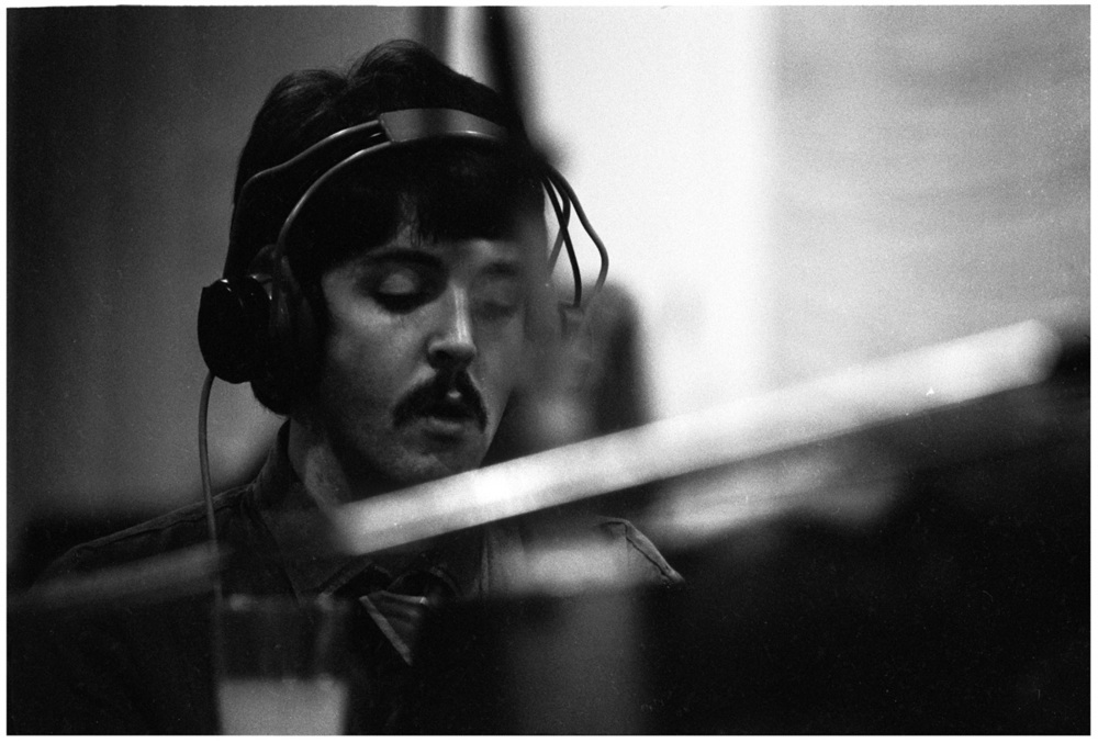 Paul McCartney playing piano at a Sgt. Pepper recording session, 1967.