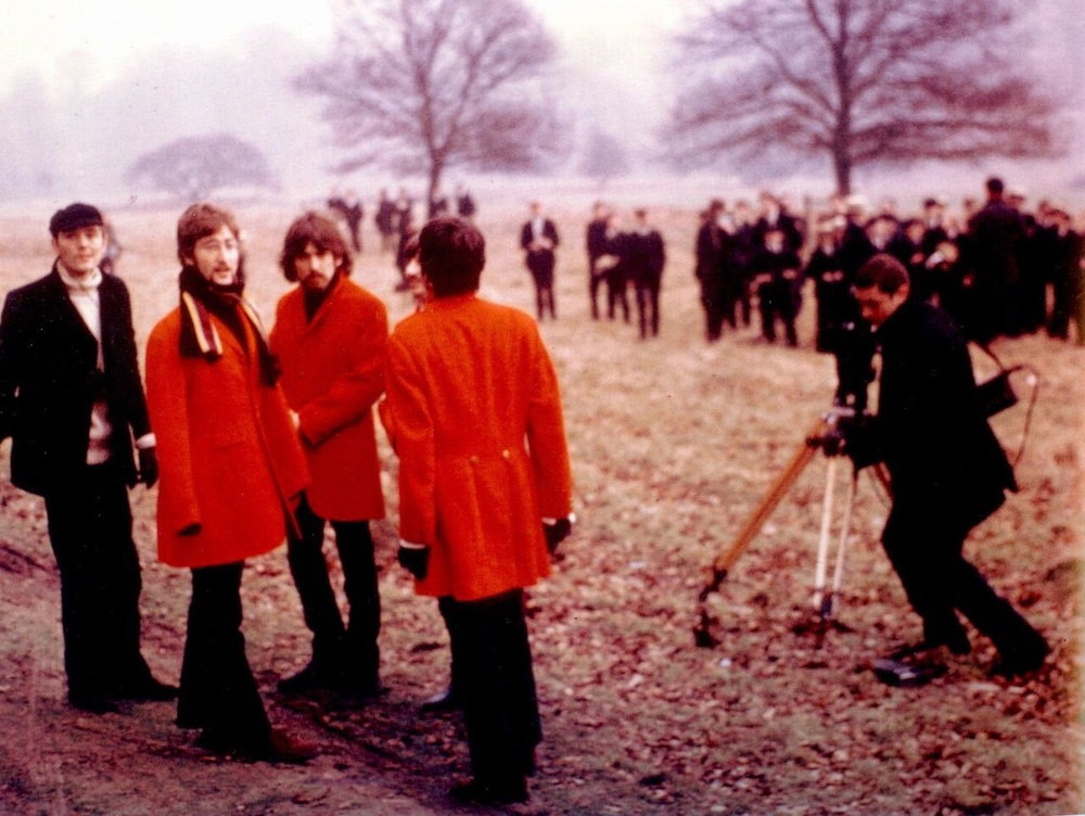 The Beatles filming a promo video for Penny Lane, February 1967.