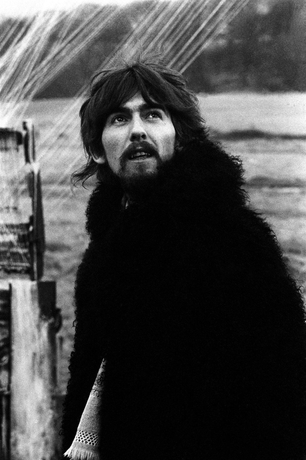 George Harrison  filming a promo video for Strawberry Fields Forever, January 1967.